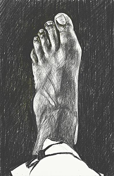 2006-06-09 21h40 broken foot drawing