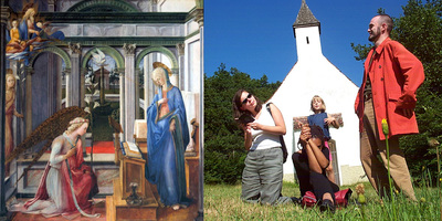 The Annunciation, Fra Fillipo Lippi, Alte Pinakotek, Munich | My friends and I, as the Lily, recreate the Annunciation on a hillside in Bavaria