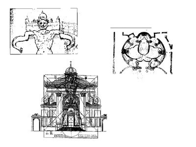 Drawings by Gianlorenzo Bernini for his designs of St. Peters Cathedral in Rome.