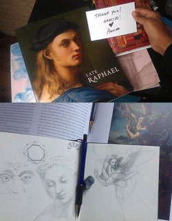 Hasan and Gemma Garcia teamed up to send me a gift of the Late Raphael catalog from Madrid. | I draw from the examples of the master.