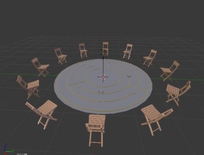 ''physical setup - 4x4 meter space surrounded by chairs''